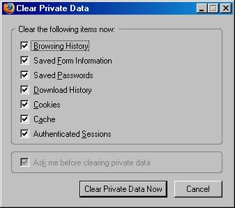 Firefox clear private data confirmation