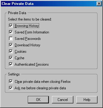 firefox clear private data configure